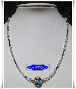 1662. ausgefallene Swarovski-Spinell-Kette mit Muranoglas-Perle