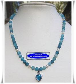 1365. blaue Achat-Kette mit Bergkristall-Anhänger Set