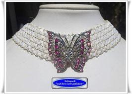 18) schickes weißes Glasperlen-Halsband mit Schmetterling