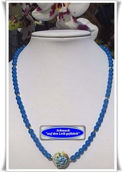 1256. blaue Glasperlenkette mit Tensha-Perle
