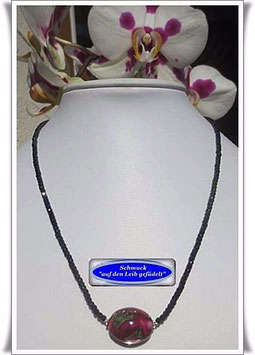 1262. Cubik Zirkonia-Kette mit Muranoglas-Perle