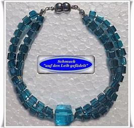 215) 2-reihiges Glaswürfel-Armband
