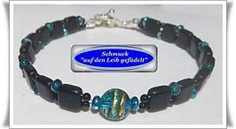 244) Glasperlen-Armband mit Muranoglas-Perle