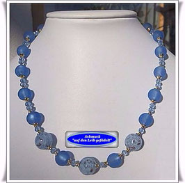 1167. blaues Muranoperlen-Collier Set