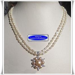 1573. 2-reihige Perlenkette mit schönem Anhänger
