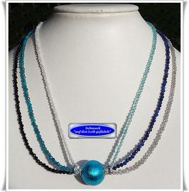 1928. ausgefallenes buntes Edelstein-Collier mit Muranoglas-Perle