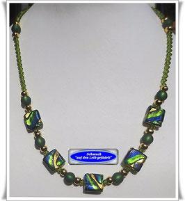 855. grün-blaue Muranoglas-Swarovski-Kette