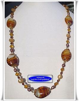 285. braune Lampwork-Perlenkette