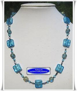 1447. türkisblaue Muranoglas-Perlenkette
