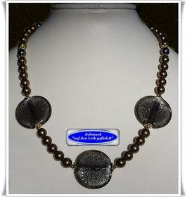 1907. ausgefallene Swarovski Crystal Pearls-Kette mit großen Muranoglas-Scheiben