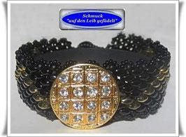 111) schwarzes Armband mit edlem Strass-Zierknopf