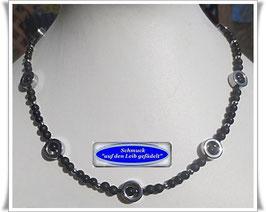 1592. zierliche Onyx-Kette mit Hämatit-Reifen