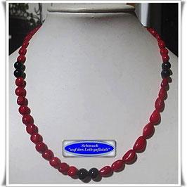 1648. rote Bambus-Koralle-Onyx-Kette