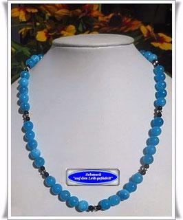 1101. blau-weiße Jade-Kette Set