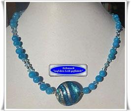 1539. Marmorperlen-Kette mit großer Muranoglas-Perle