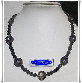 1667. Onyx-Spinell-Kette mit Kristallglasperlen
