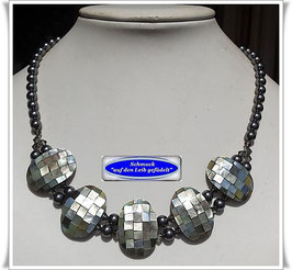 1833. ausgefallene Abalone-Swarovski-Pearls-Kette Set