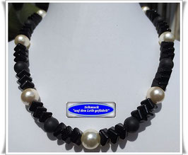 206. schwarz-weißes Collier Set