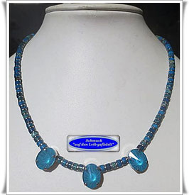 1652. elegante Seesediment-Jaspis-Kette mit gefassten Swarovski-Perlen
