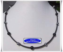 11) PVC-Schlauch-Kette mit Onyx + Pyrit TS