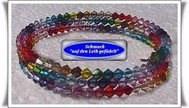122) Memory Wire-Armband mit bunten Kristallglas-Biconen TS