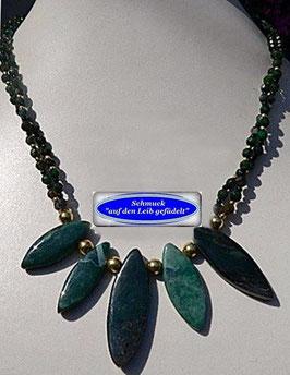 145. 2-reihige grüne Achat-Kette