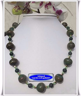 1257. grünes Muranoglas-Swarovski-Collier