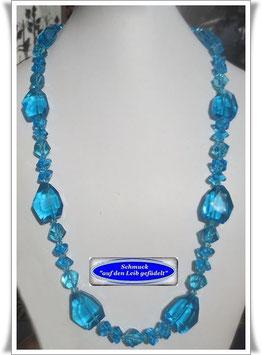 1591. aquamarinfarbene Kristallglas-Perlenkette
