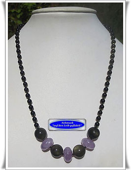 1426. edle Lavendel-Amethyst-Onyx-Kette