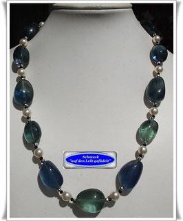 1826. edle Fluorit-Swarovski Crystal Pearls-Kette