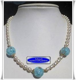1458. Zuchtperlen-Kette mit Muranoglas-Perlen