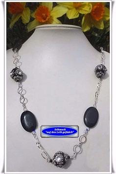 1009. lange Kashmiri-Perlen-Onyx-Kette