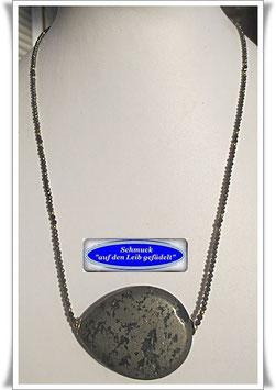 1516. zierliche Pyrit-Kette mit Markasit Pyrit-Tropfen
