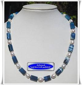 1441. blaue Streifenachat-Kette