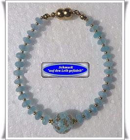 152) Quarz-Armband mit Muranoglas-Perle