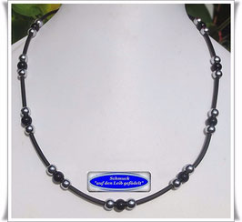 35) PVC-Schlauch-Kette mit Onyx + Pyrit Set TS