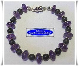 230) Amethyst-Onyx-Armband