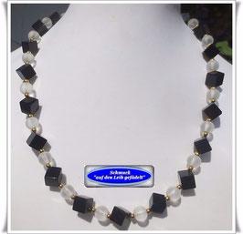 593. Bergkristall-Onyx-Kette Set