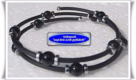 55) Memory Wire-Armbänder mit Onyx TS