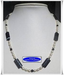 1459. Sardonyx-Zuchtperlenkette Set