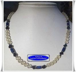 1359. elegantes Bergkristall-Lapislazuli-Collier