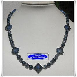 1814. stahlblaue Swarovski-Pearls-Kristallglaskette