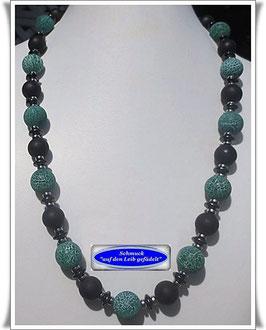 528. schwarz-grüne Achat-Kette