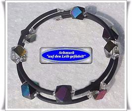 124) Memory Wire-Armband mit bunten Glaswürfeln