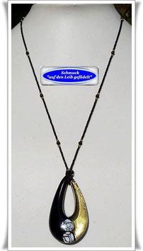 1894. filigrane schwarze Glasperlenkette mit Muranoglas-Anhänger