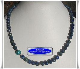 1575. Azurit Chrysokoll-Kette mit Muranoglas-Perle