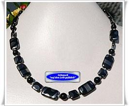 389. schwarz-silberne Glasperlenkette