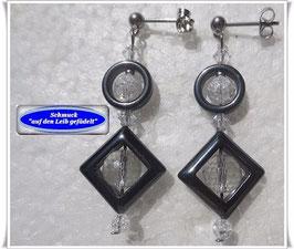1094. ausgefallene Bergkristall-Hämatit-Ohrringe