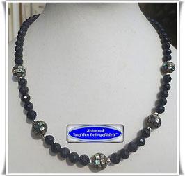 1614. Blaufluss-Kette mit Abalone-Perlen