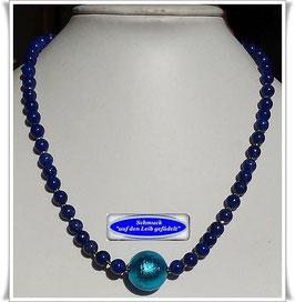 1945. Lapislazuli-Pyrit-Kette mit großer Muranoglas-Perle